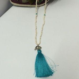White Turquoise Beaded Elephant Necklace